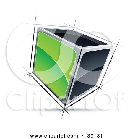 Clipart Illustration of a Pre-Made Logo Of A 3d Cube With Green And Black Sides by beboy