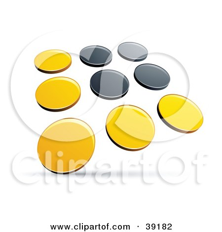 Clipart Illustration of a Pre-Made Logo Of Rows Of Yellow And Black Dots by beboy