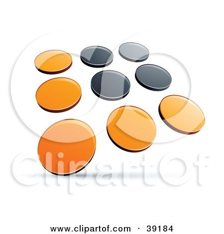 Clipart Illustration of a Pre-Made Logo Of Rows Of Orange And Black Dots by beboy