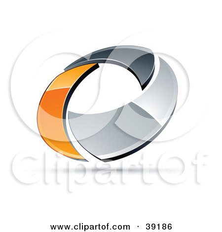 Clipart Illustration of a Pre-Made Logo Of A Chrome And Orange Circling Ring by beboy