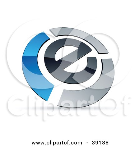 Clipart Illustration of a Pre-Made Logo Of An E Circled By Chrome And Blue Bars by beboy
