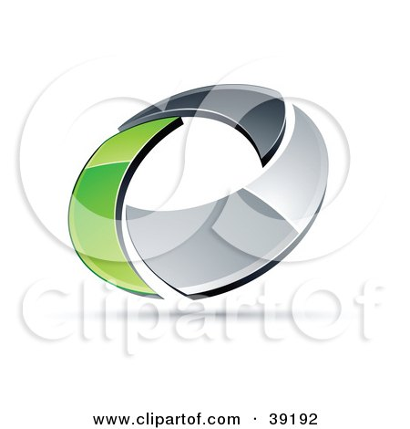 Clipart Illustration of a Pre-Made Logo Of A Chrome And Green Circling Ring by beboy