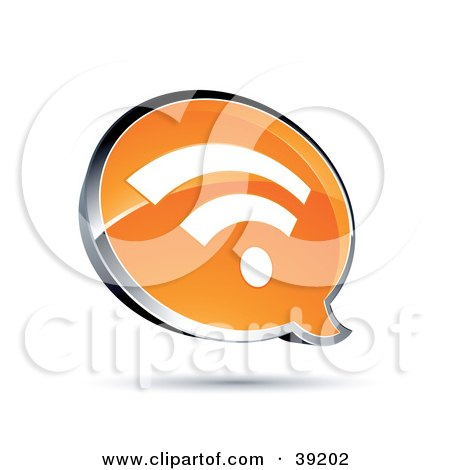 Clipart Illustration of a Shiny Orange RSS Chat Window by beboy