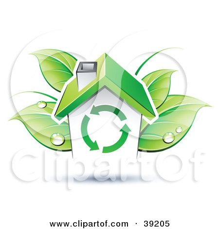 Clipart Illustration of a House In Front Of Dewy Green Leaves by beboy