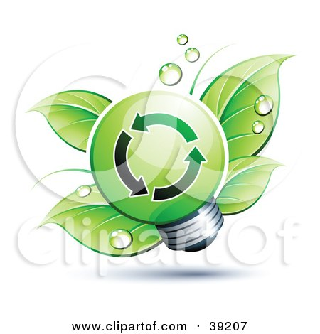 Clipart Illustration of a Green Lightbulb In Front Of Dewy Green Leaves by beboy