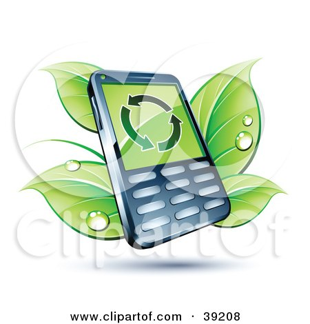 Clipart Illustration of a Smart Cell Phone With Dewy Green Leaves by beboy