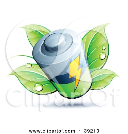 Clipart Illustration of a Battery Sprouting Green Dewy Leaves by beboy