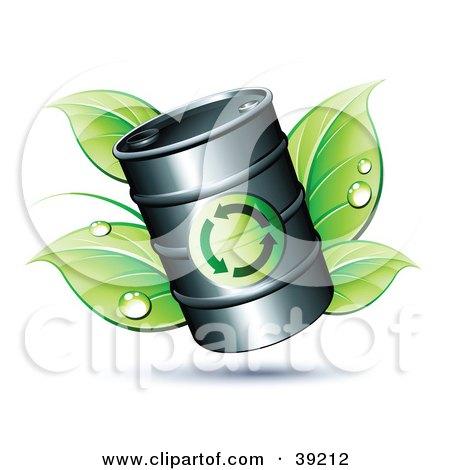 Clipart Illustration of a Black Oil Barrel Resting On Green Dewy Leaves by beboy