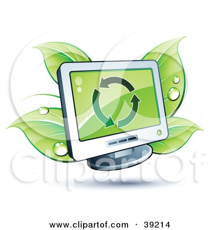 Clipart Illustration of a Computer Monitor Sprouting Green Dewy Leaves by beboy