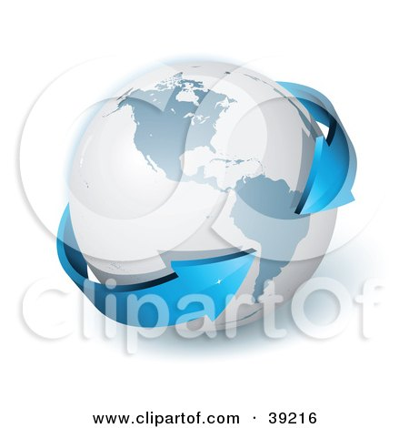 Clipart Illustration of a Gray Globe Encircled By A Blue , Double Ended 3d Arrow Pointing To South America by beboy