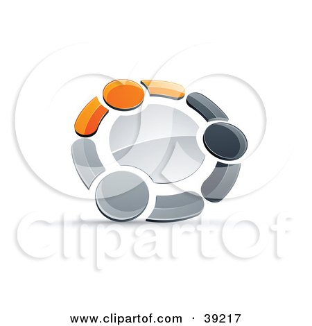 Clipart Illustration of a Pre-Made Logo Of A Circle Of Three Orange, Gray And Black People Holding Hands by beboy