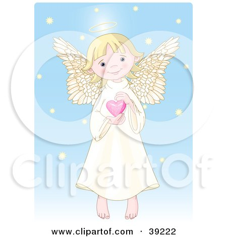 innocent, blond female angel with a halo, holding a pink heart,