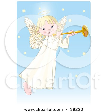 Clipart Illustration of a Cute, Innocent, Blond Femal Angel With A Halo, Playing A Horn by Pushkin