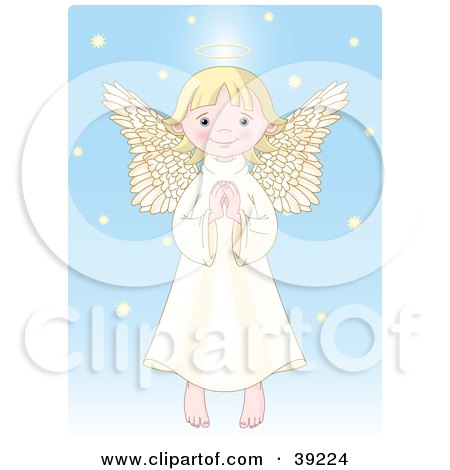 Clipart Illustration of an Innocent Blond Femal Angel With A Halo, Holding Her Hands Together by Pushkin