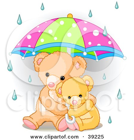 Clipart Illustration of a Baby Teddy Bear Cuddling With Its Mother Under An Umbrella On A Rainy Day by Pushkin