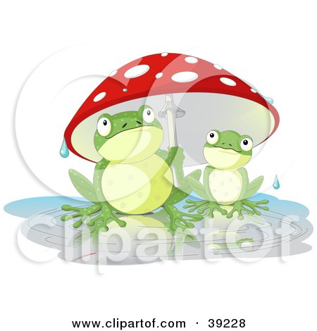 Clipart Illustration of an Adult Frog Holding A Mushroom Umbrella Over A Baby Frog On A Rainy Day by Pushkin