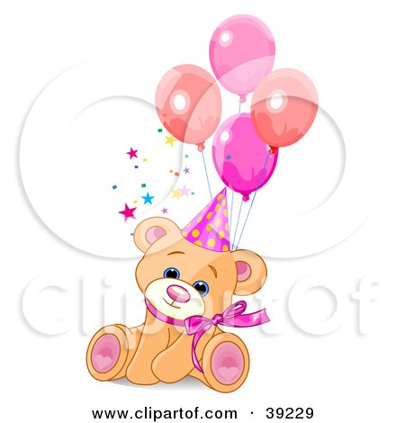 Clipart Illustration of a Cute Feale Birthday Bear Wearing A Party Hat And Sitting With Balloons by Pushkin