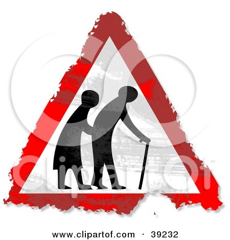Clipart Illustration of a Grungy Red, White And Black Elderly Crossing Triangular Sign by Prawny