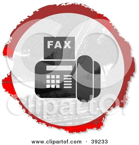 Clipart Illustration of a Grungy Red, White And Black Circular Fax Machine Sign by Prawny