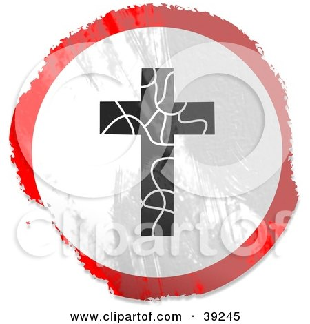 Clipart Illustration of a Grungy Red, White And Black Circular Cracking Cross Sign by Prawny