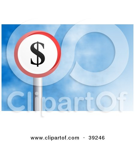 Clipart Illustration of a Red And White Circular Dollar Sign Against A Blue Sky With Clouds by Prawny