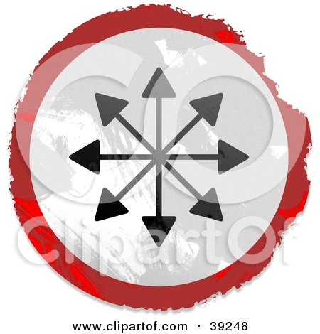 Clipart Illustration of a Grungy Red, White And Black Circular Arrows Pointing Sign by Prawny