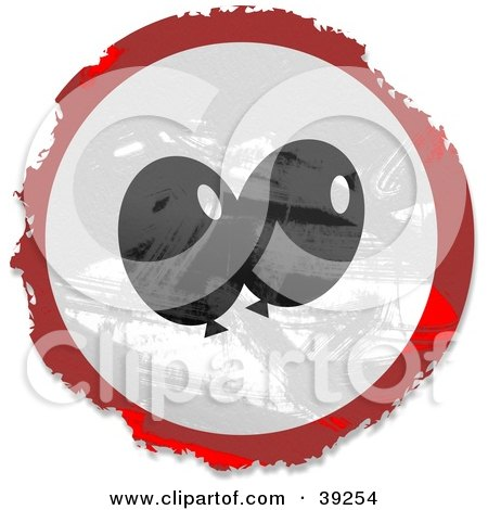 Clipart Illustration of a Grungy Red, White And Black Circular Party Balloon Sign by Prawny