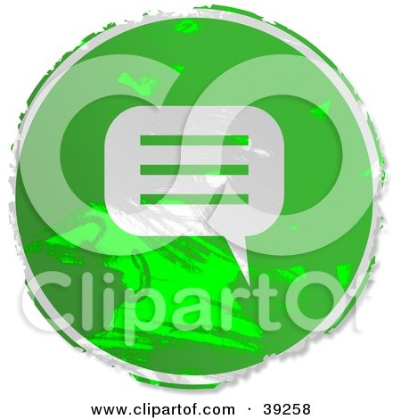 Clipart Illustration of a Grungy Green Circular Instant Messenger Sign by Prawny