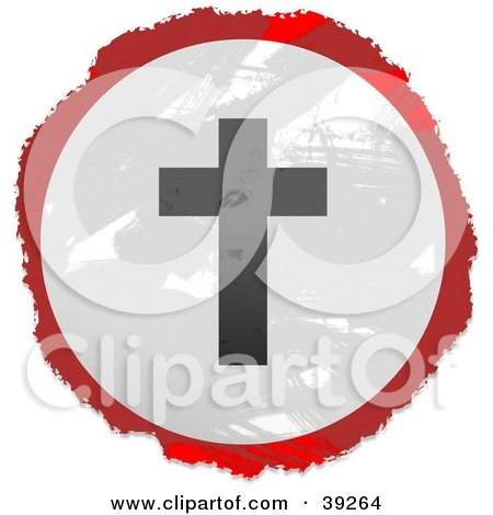 Clipart Illustration of a Grungy Red, White And Black Circular Silhouetted Cross Sign by Prawny
