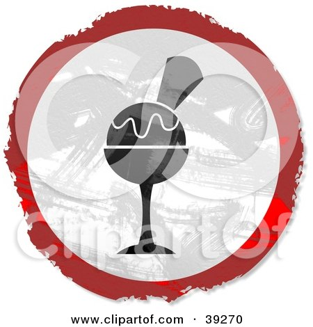 Clipart Illustration of a Grungy Red, White And Black Circular Sundae Sign by Prawny