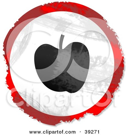 Clipart Illustration of a Grungy Red, White And Black Circular Apple Sign by Prawny