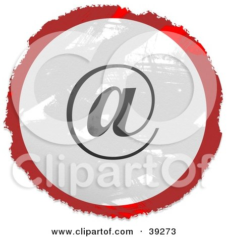 Clipart Illustration of a Grungy Red, White And Black Circular At Email Sign by Prawny