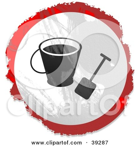 Clipart Illustration of a Grungy Red, White And Black Circular Beach Bucket Sign by Prawny