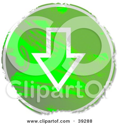 Clipart Illustration of a Grungy Green Circular Down Arrow Sign by Prawny