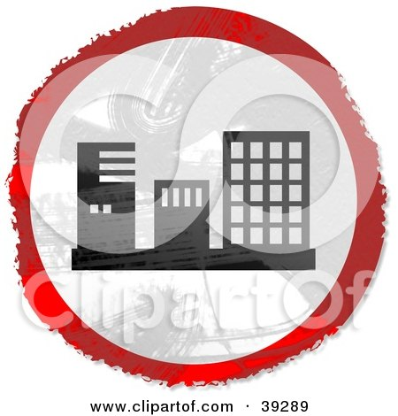 Clipart Illustration of a Grungy Red, White And Black Circular Building Sign by Prawny