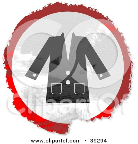 Clipart Illustration of a Grungy Red, White And Black Circular Coat Sign by Prawny