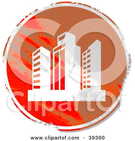 Clipart Illustration of a Grungy Orange Circular Skyscraper Sign by Prawny