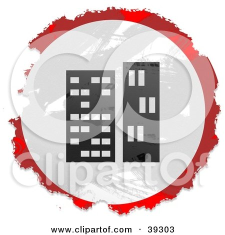 Clipart Illustration of a Grungy Red, White And Black Circular Skyscrapers Sign by Prawny