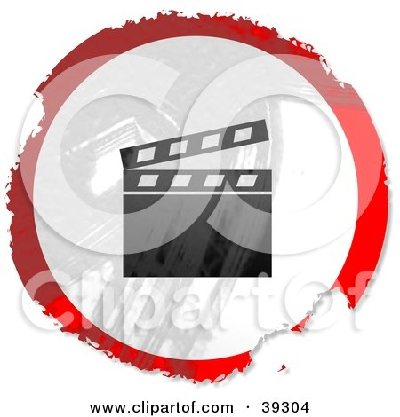 Clipart Illustration of a Grungy Red, White And Black Circular Clapper Board Sign by Prawny