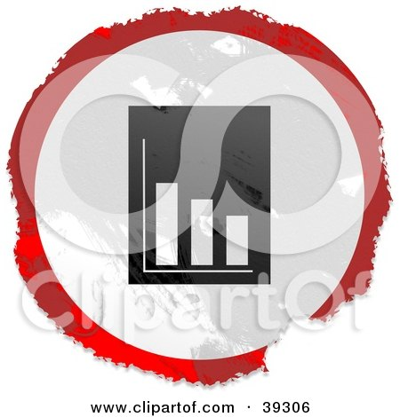 Clipart Illustration of a Grungy Red, White And Black Circular Financial Report Sign by Prawny