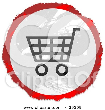 Clipart Illustration of a Grungy Red, White And Black Circular Shopping Cart Sign by Prawny