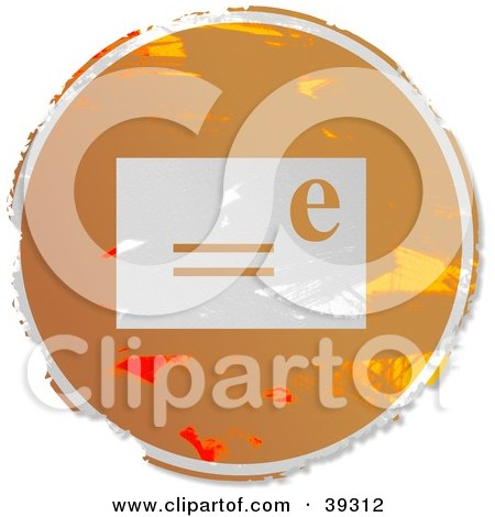 Clipart Illustration of a Grungy Orange Circular Email Sign by Prawny