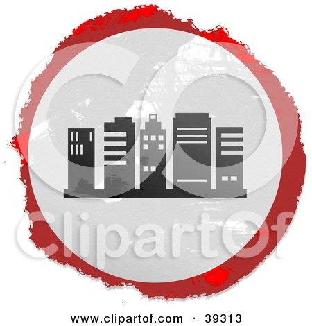 Clipart Illustration of a Grungy Red, White And Black Circular City Block Sign by Prawny