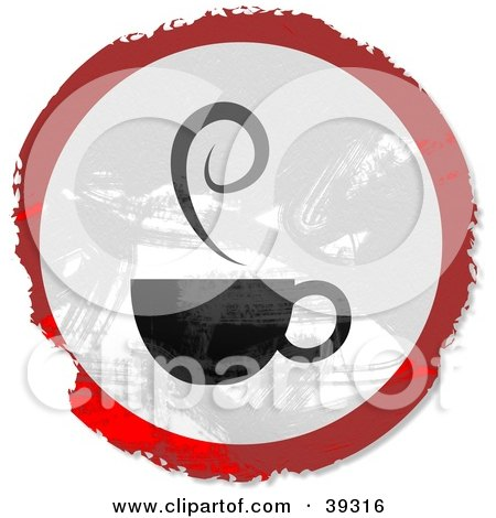 Clipart Illustration of a Grungy Red, White And Black Circular Coffee Sign by Prawny