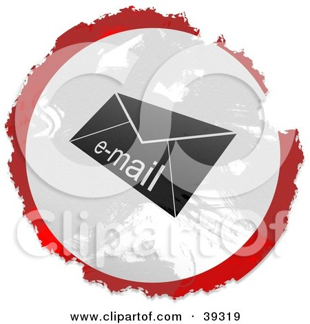 Clipart Illustration of a Grungy Red, White And Black Circular Email Envelope Sign by Prawny