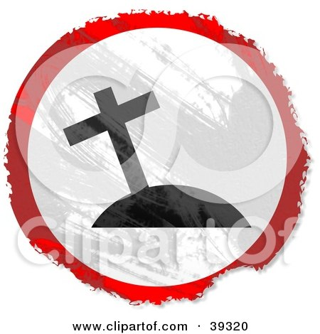 Clipart Illustration of a Grungy Red, White And Black Circular Cross On A Hill Sign by Prawny