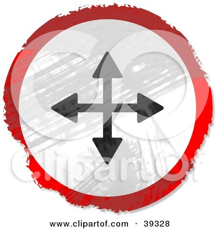 Clipart Illustration of a Grungy Red, White And Black Circular Directional Arrow Sign by Prawny