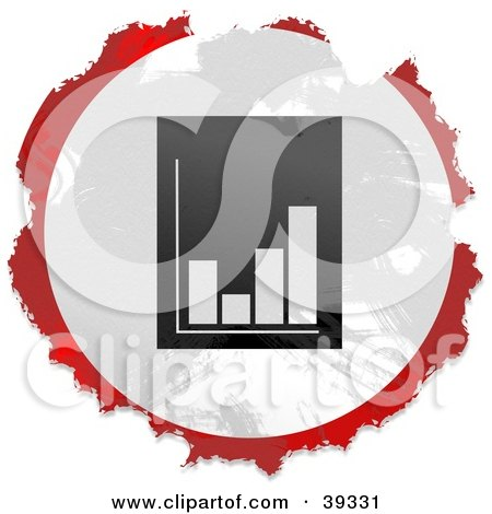 Clipart Illustration of a Grungy Red, White And Black Circular Bar Graph Sign by Prawny