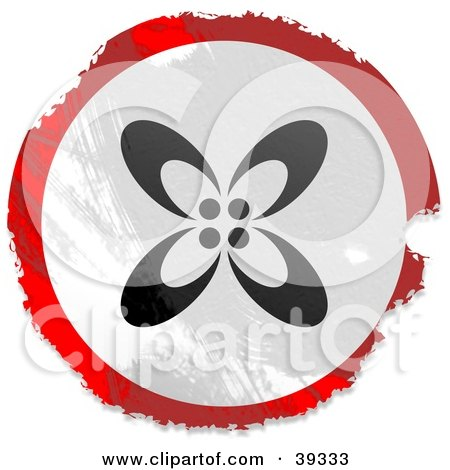 Clipart Illustration of a Grungy Red, White And Black Circular Floral Sign by Prawny