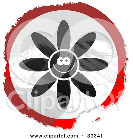 Clipart Illustration of a Grungy Red, White And Black Circular Happy Flower Sign by Prawny